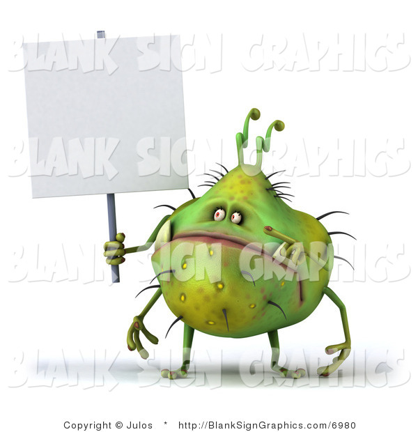 Illustration of a Chubby Monster or Germ with a Blank Sign