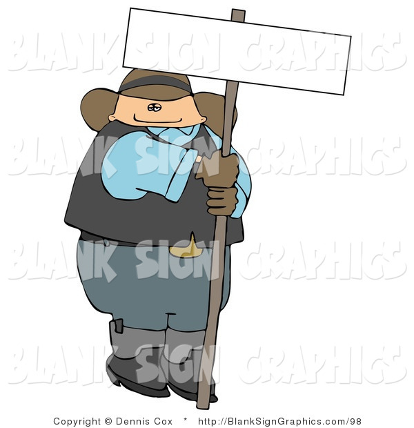 Illustration of a Cowboy Holding a Blank Sign