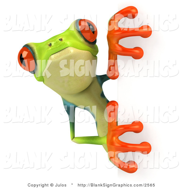 Illustration of a Curious Cute Green Poison Dart Frog Looking Around a Blank Sign