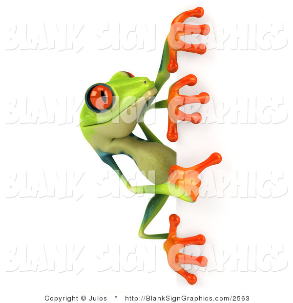 Illustration of a Cute Green Poison Dart Frog Looking at a Blank Sign