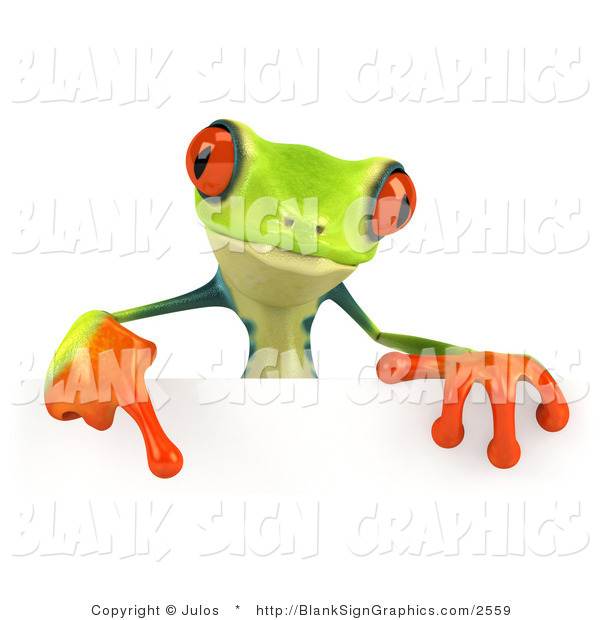 Illustration of a Cute Green Poison Dart Frog Pointing down at and Standing Behind a Blank White Sign