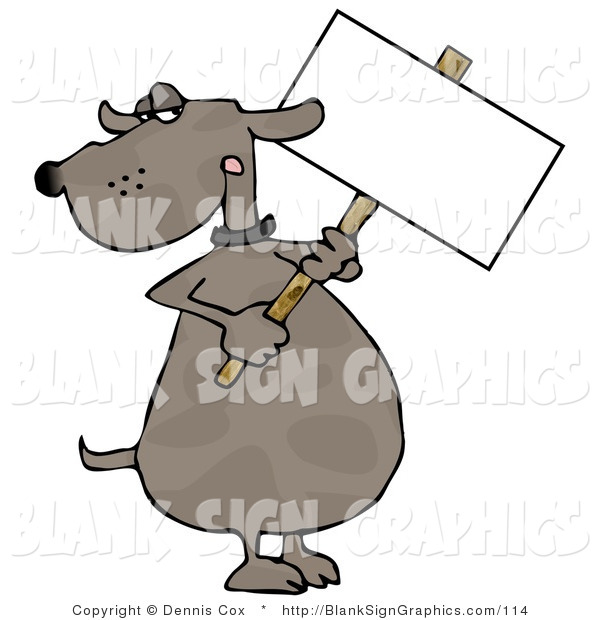 Illustration of a Dog Holding a Blank Sign