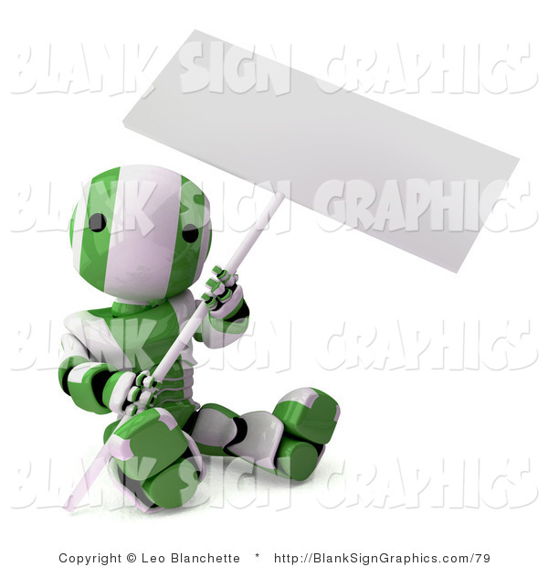 Illustration of a Green and White Striped Robot Sitting on the Ground and Holding a Blank Sign