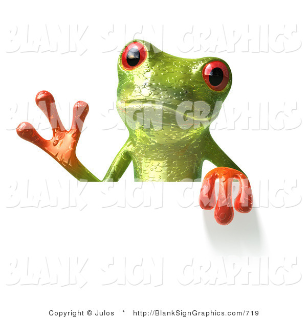 Illustration of a Green Frog Holding a Blank Sign