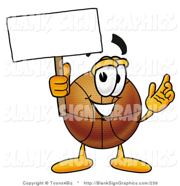 Illustration of a Happy Basketball Holding a Blank Sign and Waving