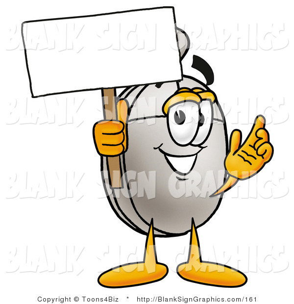 Illustration of a Happy Computer Mouse Holding a Blank Sign and Waving