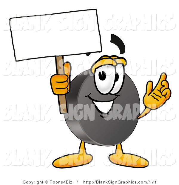 Illustration of a Happy Hockey Puck Holding a Blank Sign and Waving