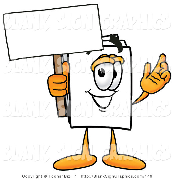 Illustration of a Happy Paper Holding a Blank Sign and Waving