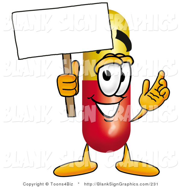 Illustration of a Happy Pill Holding a Blank Sign and Waving