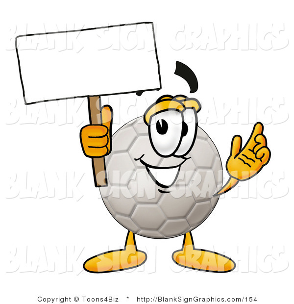 Illustration of a Happy Soccer Ball Holding a Blank Sign and Waving