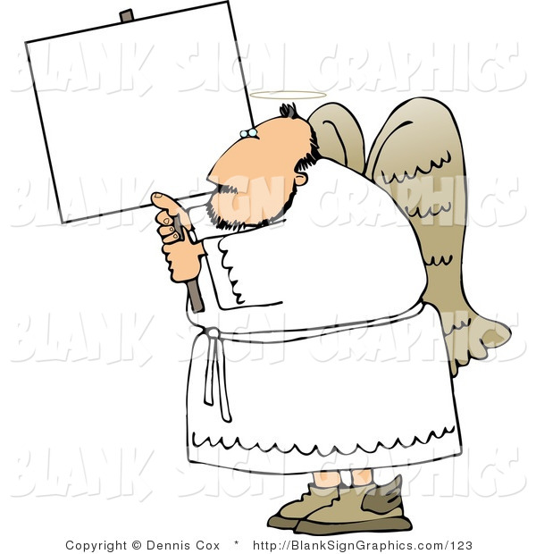 Illustration of a Heavenly Angel Holding a Blank Sign