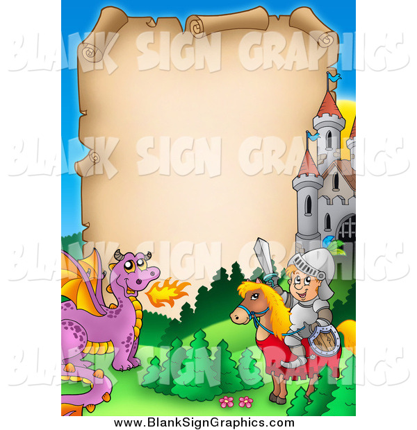 Illustration of a Knight on His Horse and Dragon by a Castle Around Aged Parchment Paper