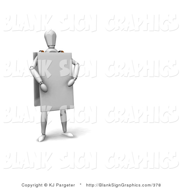 Illustration of a Mannequin Wearing a Blank Sign