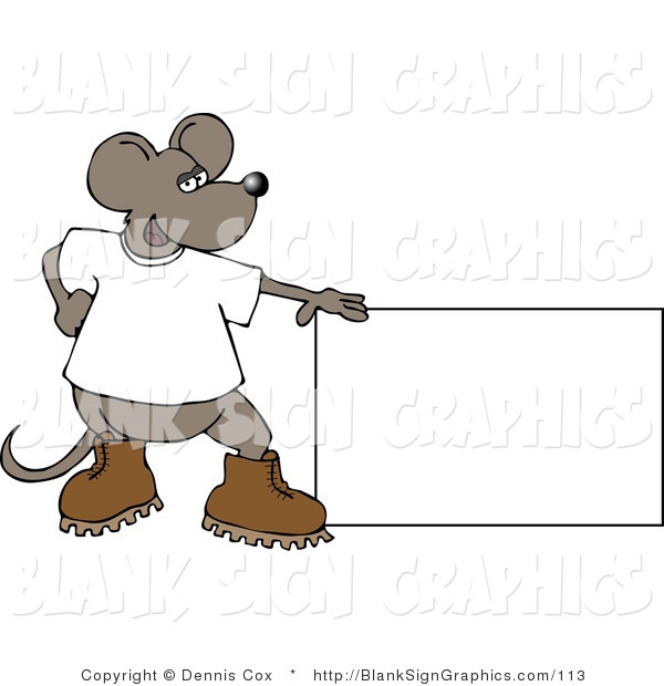 Illustration of a Mouse Presenting a Blank Sign