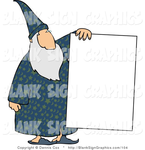 Illustration of a Old Wizard Holding a Blank Sign
