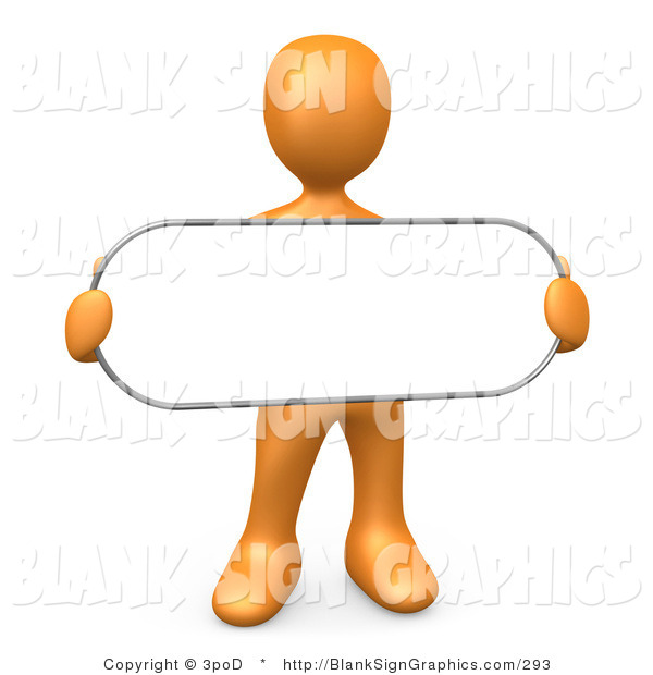 Illustration of a Orange Person Holding a Blank Oval Sign