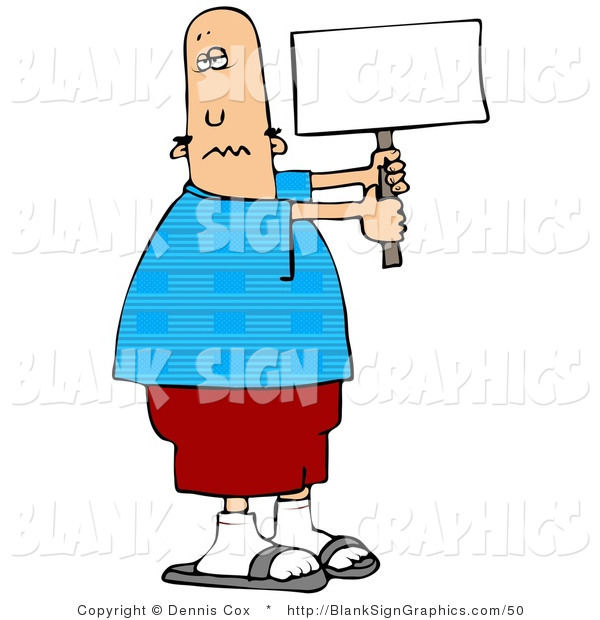 Illustration of a Patriotic Man Holding a Blank Sign