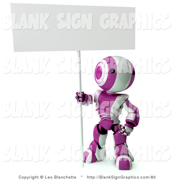 Illustration of a Pink and White Striped Robot Sitting on the Ground and Holding a Blank Sign