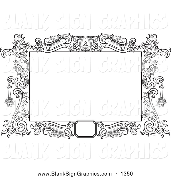 Illustration of a Pretty Black and White Floral Scroll Frame Around a Blank Text Box