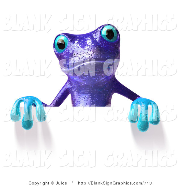 Illustration of a Purple Frog Holding a Blank Sign