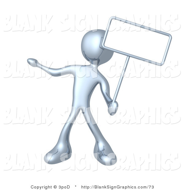 Illustration of a Silver Person Holding a Blank Sign