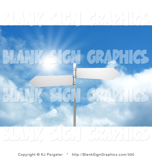 Illustration of a Two Blank Arrow Street Signs on a Post