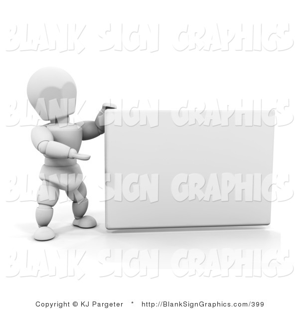 Illustration of a White Person Holding a Blank Sign