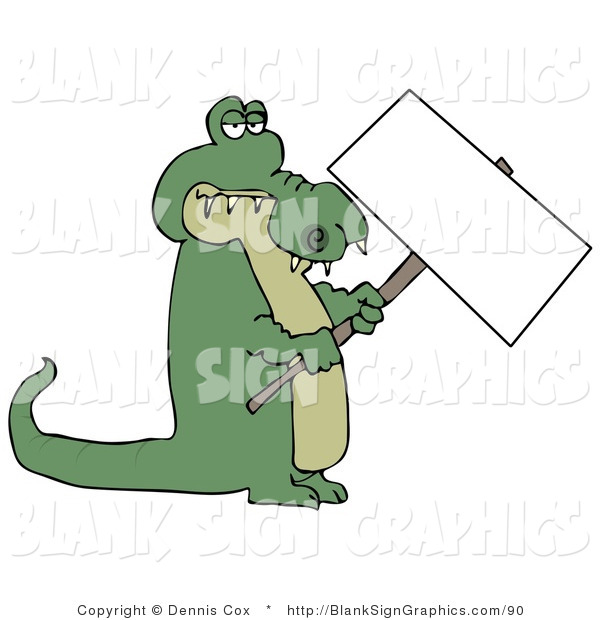 Illustration of an Alligator Holding a Blank Sign
