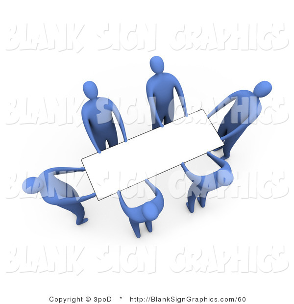 Illustration of Blue People Lifting a Blank White Sign