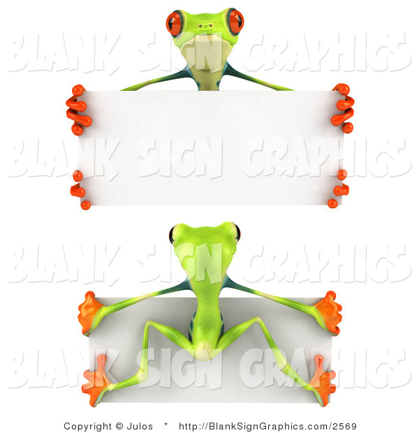Illustration of Front and Back Views of a Green Poison Dart Frog Holding a Blank White Sign