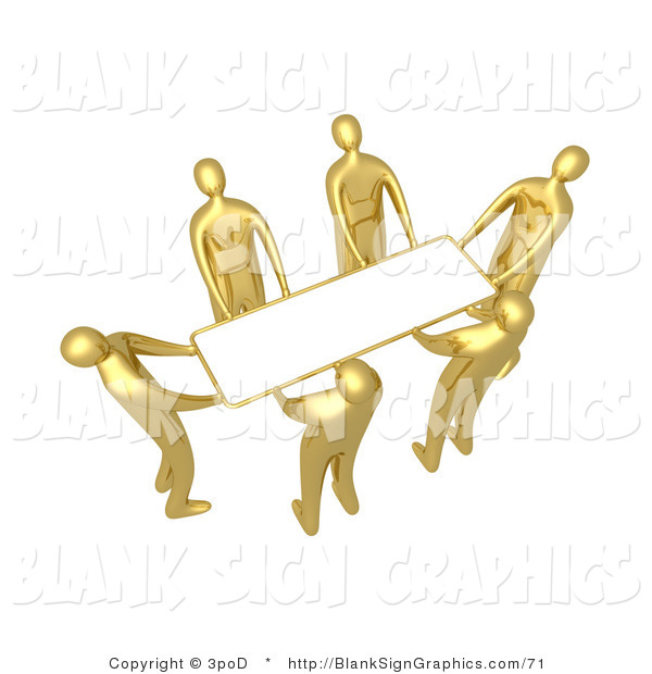 Illustration of Gold People Lifting a Blank Sign