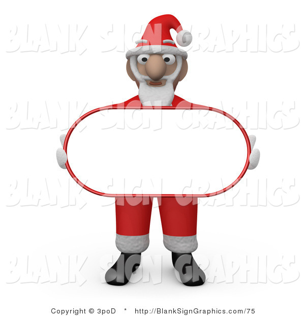 Illustration of Santa Claus Carrying a Blank Oval Sign