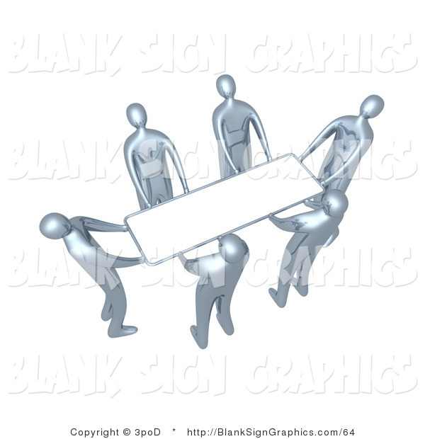 Illustration of Silver People Lifting a Blank White Sign