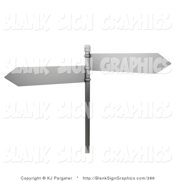 Illustration of Two Blank Arrow Street Signs on a Post
