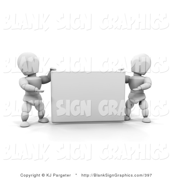 Illustration of White People Holding a Blank Sign
