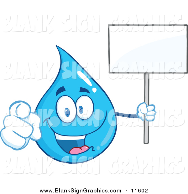 Vector Cartoon Illustration of a Blue Water Drop Character Pointing at You and Holding a Blank Sign