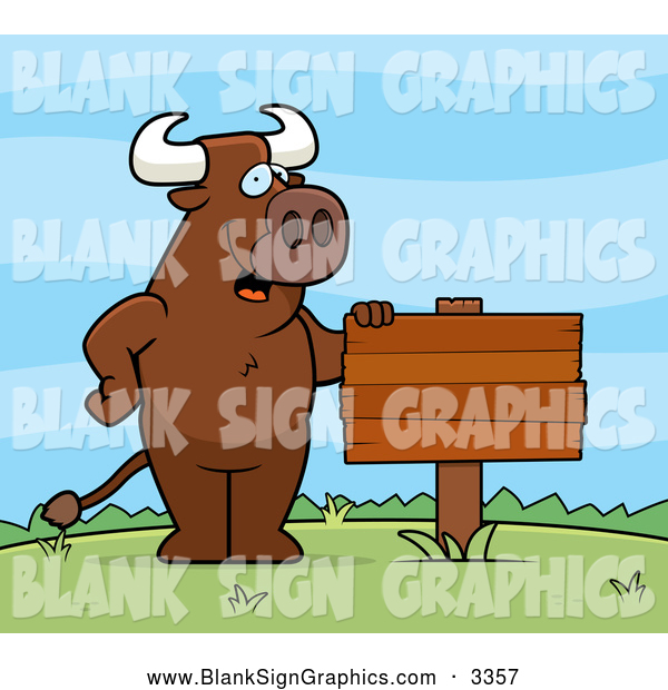 Vector Cartoon Illustration of a Bull Standing Upright by a Blank Sign Outdoors
