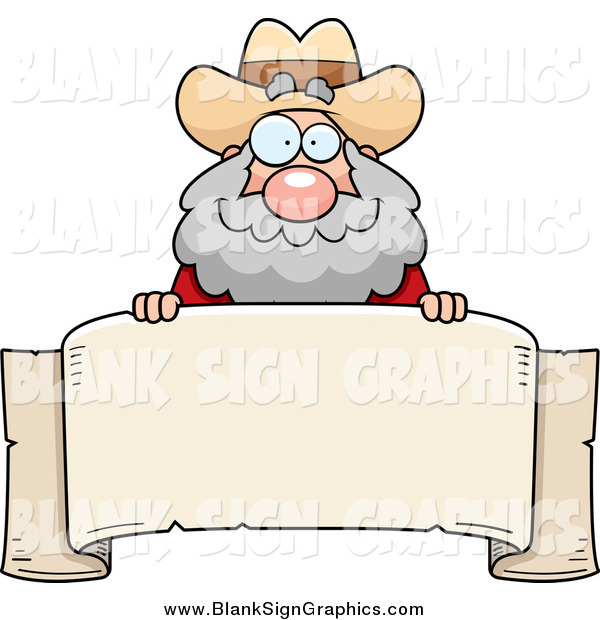 Vector Cartoon Illustration of a Chubby White Male Miner Prospector over a Parchment Banner