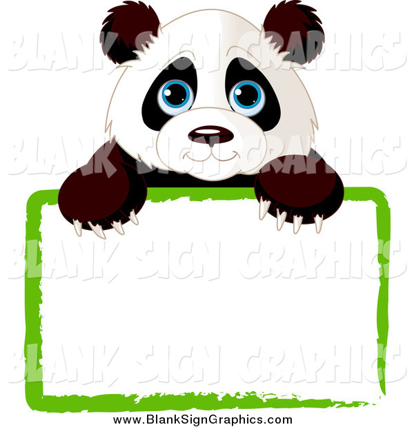 Vector Cartoon Illustration of a Cute Panda Looking over a Blank Sign