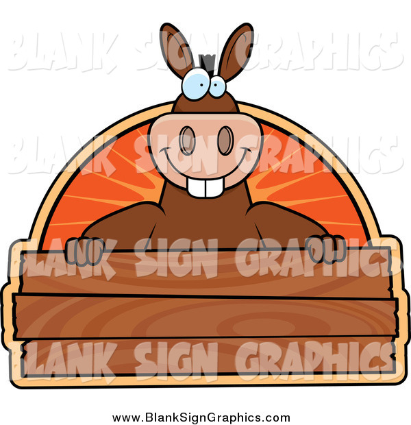 Vector Cartoon Illustration of a Donkey Smiling over a Wooden Plaque