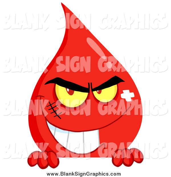 Vector Cartoon Illustration of a Evil Blood Guy Grinning over a Sign