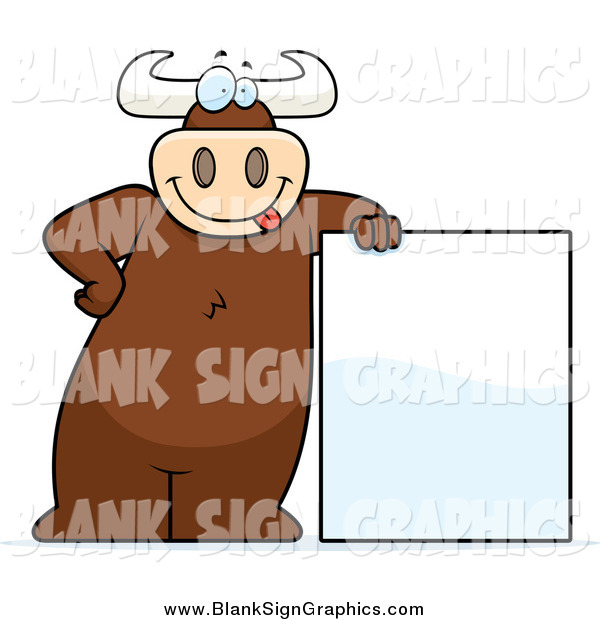 Vector Cartoon Illustration of a Goofy Big Bull Leaning on a Blank Sign