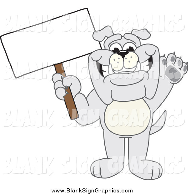 Vector Cartoon Illustration of a Gray Bulldog Waving and Holding a Blank Sign