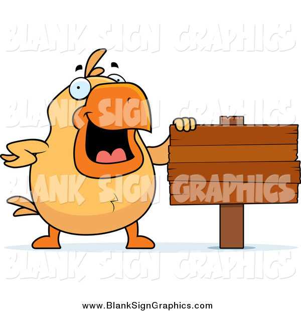 Vector Cartoon Illustration of a Happy Chick Beside a Blank Wooden Sign