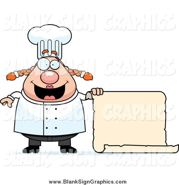 Vector Cartoon Illustration of a Happy Female Chef Holding a Blank Scroll