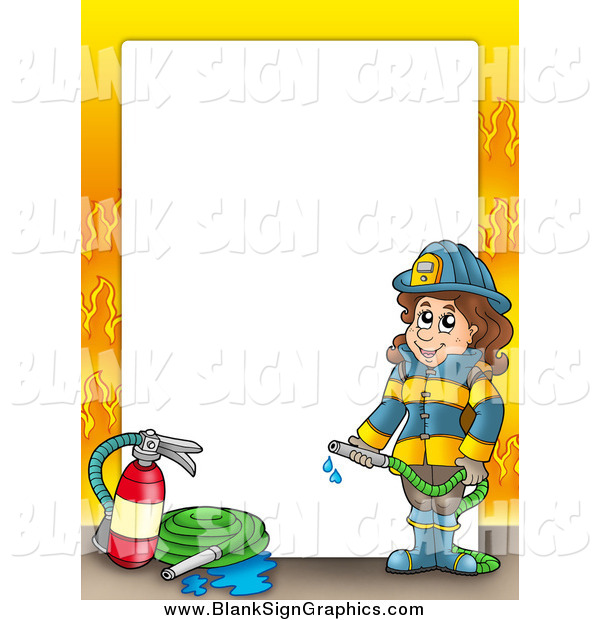 Vector Cartoon Illustration of a Happy Fire Woman Border with Flames Around White Space