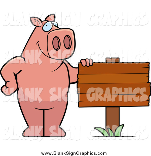 Vector Cartoon Illustration of a Happy Pig Standing Beside a Blank Wood Sign