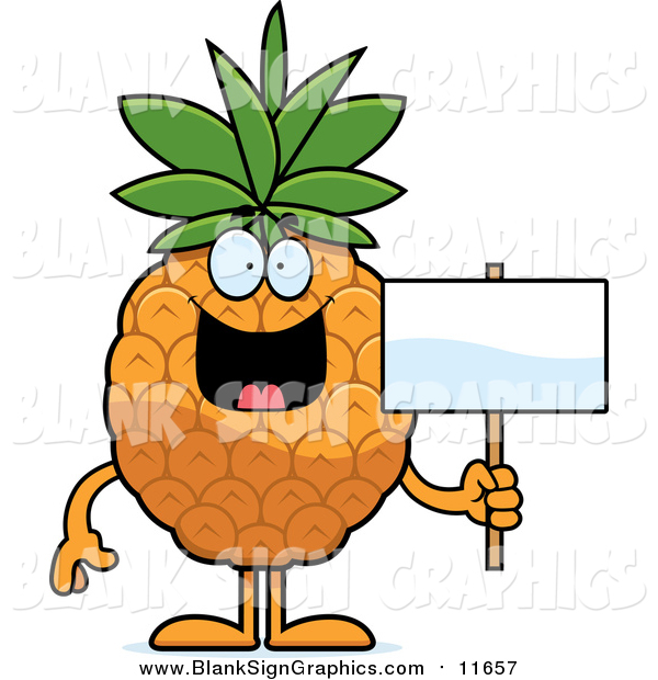 Vector Cartoon Illustration of a Happy Pineapple Holding a Blank Sign