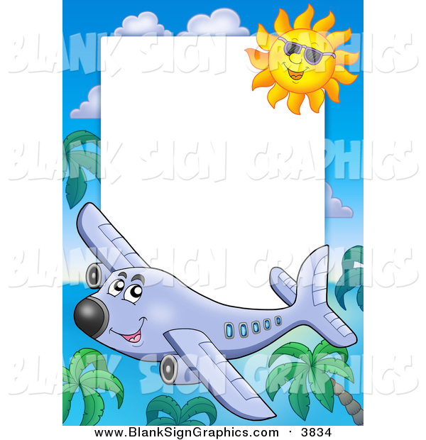 Vector Cartoon Illustration of a Happy Plane, Palm Tree and Sun Border Around White Space
