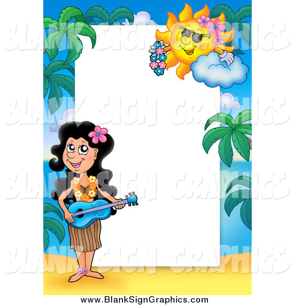 Vector Cartoon Illustration of a Hawaiian Girl Playing Music Border Around White Space